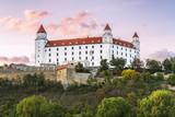 Wonderful impression of Bratislava castle (Slovakia) on summer sunset