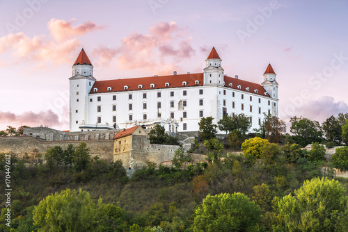 Wonderful impression of Bratislava castle (Slovakia) on summer sunset Poster