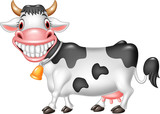 Cartoon happy cow isolated on white background - 170447892