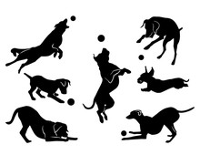 Dog Playing  A Ball Black Silhouette  Sticker