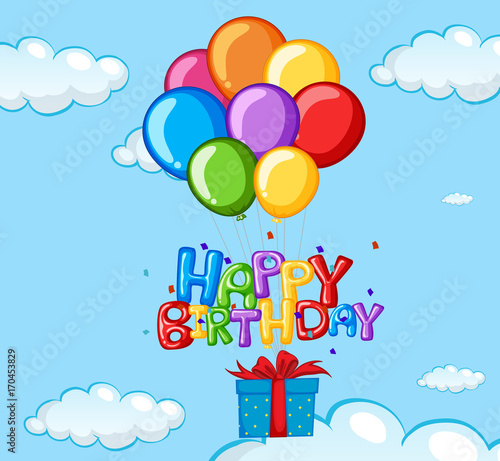Fotobehang Kids Happy Birthday card with balloons and present