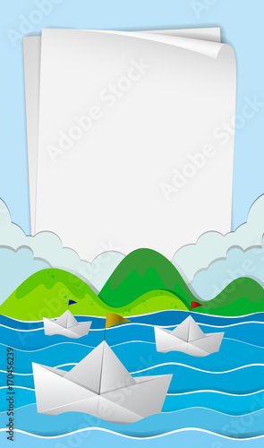 Fotobehang Kids Paper template with paper boats at sea