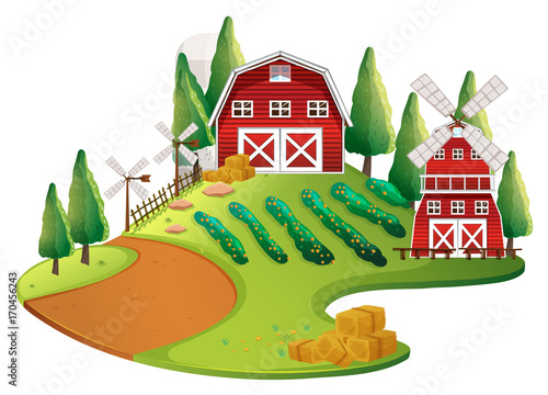 Fotobehang Kids Farm scene with crops and barn