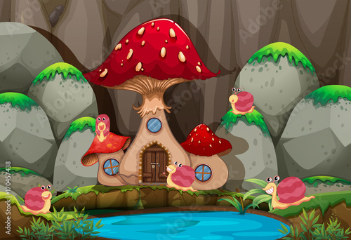 Fotobehang Kids Forest scene with mushroom house by the pond