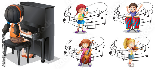 Fotobehang Kids Children playing different musical instruments