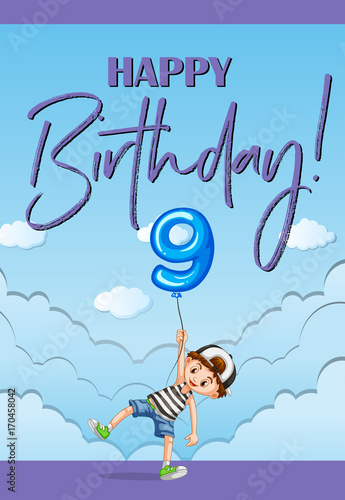 Fotobehang Kids Birthday card template for nine years old