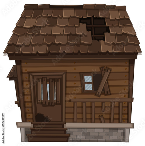 Fotobehang Kids Wooden house in bad condition