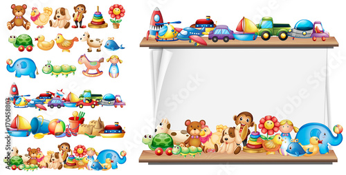 Foto op Aluminium Kids Many types of toys and paper template