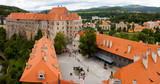 Cesky Krumlov - View of the small city in the South Bohemian Region of the Czech Republic. Old Ceský Krumlov is a UNESCO World Heritage Site.