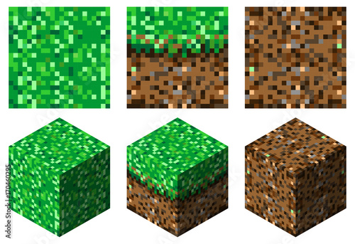 textures and cubes in minecraft style(green-brown grass and earth)