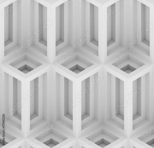 monochrome geometric 3D print, decorative wallpaper seamless