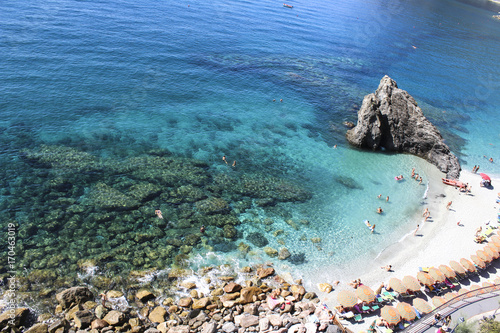 Foto op Canvas Liguria Beach and sea in Monterosso (Cinque Terre - Italy) with road