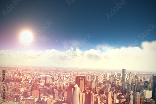 Composite image of scenic view of bright sun over white Poster