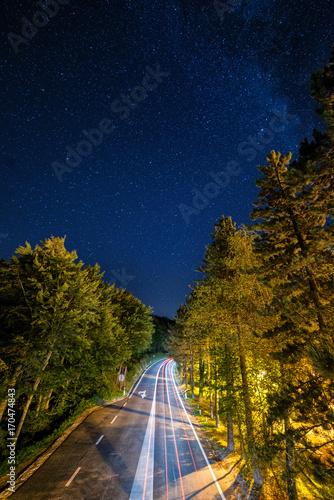 Foto op Plexiglas Nacht snelweg Night road with car traces