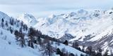 Evening winter snowy mountains landscape panoramic view near St. Moritz ski resort in Switzerland. - 170475405