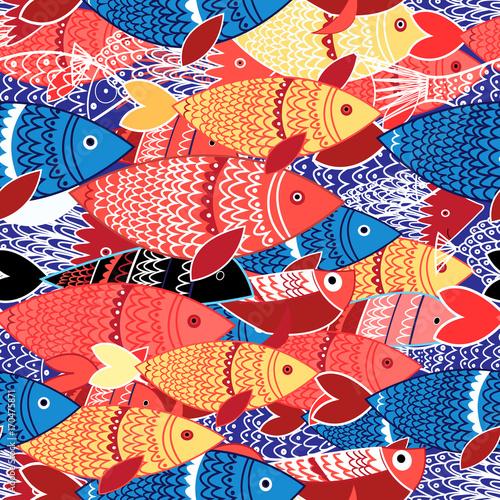 Plakat Seamless pattern of colorful fish