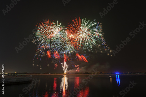 Foto op Plexiglas Abu Dhabi Beautiful fireworks exploding over a dark night sky