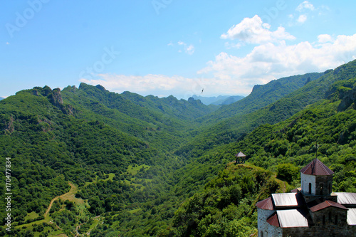 Aluminium Blauwe hemel mountains view