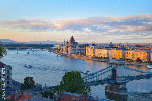 Panoramic view of parliament building and chain bridge in Budapest, Hungary Poster