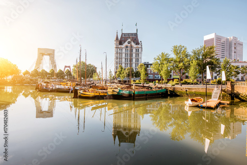 Foto op Plexiglas Rotterdam View on the Oude haven historical centre of Rotterdam city during the sunny weather