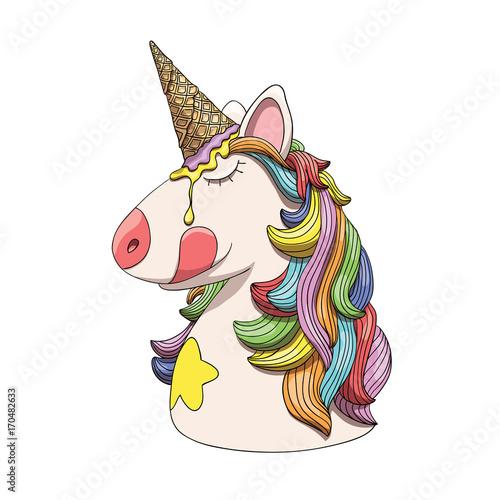 Unicorn character head portrait with rainbow hair and ice cream cone horn