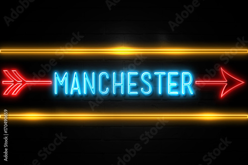 Manchester  - fluorescent Neon Sign on brickwall Front view