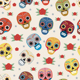 Day of the dead holiday in Mexico seamless pattern with sugar skulls. Skeleton endless background. Dia de Muertos repeating texture. Vector illustration - 170499076