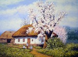 Spring and house, landscape oil paintings, village
