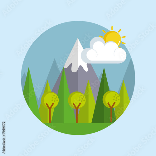 Staande foto Lichtblauw landscape day isolated icon vector illustration design
