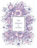 Template with abstract flowers bouquet  in pink grey on white spring  composition for decoration  package of perfume or for cosmetic shampoo soap or for advertising hygiene products purity  freshness