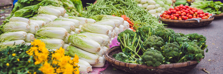 BANNER The variety of vegetables in the Vietnamese market Long Format
