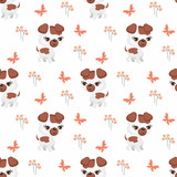 Vector colorful seamless pattern with the image of cute pets in cartoon style.