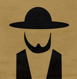 amish man with hat and beard on wood grain texture - 170512680