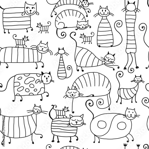 Papiers peints Cartoon draw Cute striped cats family, seamless pattern for your design