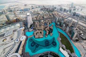 Panorama sunset view to Dubai skyscrapers in UAE