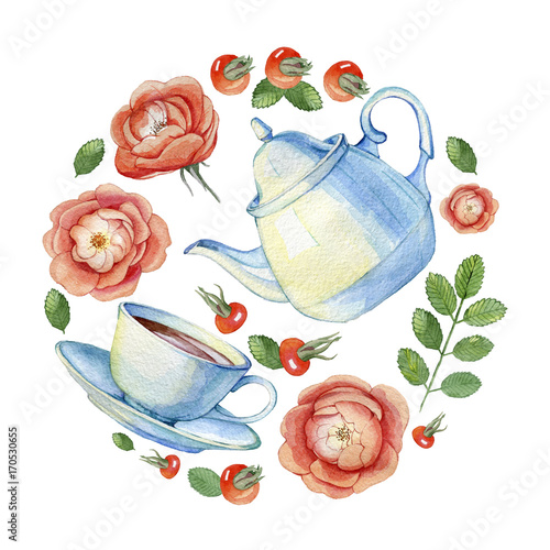 Hand drawn watercolor illustration of vintage porcelain teacup, teapot and flowers rose hips on a white background - 170530655