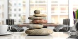 Zen stones stack on a desk, office background. 3d illustration - 170533031