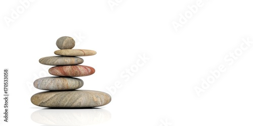 Leinwanddruck Bild Zen stones on white background. 3d illustration
