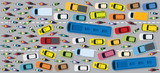 Cars on Road with Traffic Jam Chaotic, Top or Above View