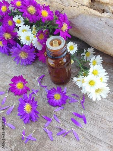 Foto Murales huiles essentielles, bouquet de marguerites colorées