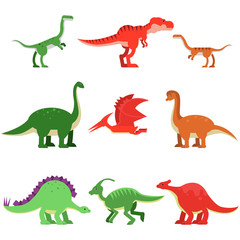 Cute cartoon dinosaur animals set, prehistoric and jurassic monster colorful vector Illustrations