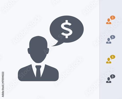 Businessman & Speech Bubble - Carbon Icons. A professional, pixel-aligned icon designed on a 32x32 pixel grid and redesigned on a 16x16 pixel grid for very small sizes.