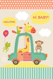 card with baby giraffe in car  - vector illustration, eps