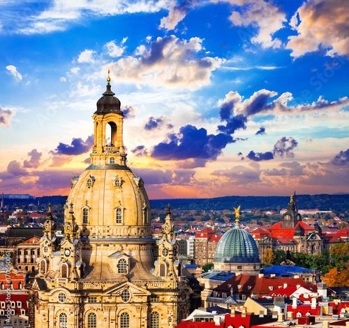 Fotobehang Freesurf landmarks of Germany - beautiful baroque Dresden over sunset