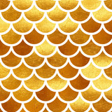 Mermaid Gold scales. Watercolor fish scales. Bright summer pattern with reptilian scales. - 170555056
