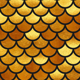 Mermaid Gold scales. Watercolor fish scales. Bright summer pattern with reptilian scales. - 170555097