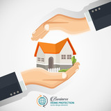 The concept of safe houses, Two hands protecting the house. Real Estate business vector flat style concept design illustration. - 170556667