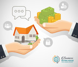 Hand giving the money and coin to the hand with the house vector illustration. Flat style icons. sale, purchase, lease, rent of real estate concept. - 170556677