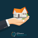 Businessman holding a house. Real Estate business. Vector flat style concept design illustration. - 170556812