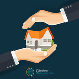The concept of safe houses, Two hands protecting the house. Real Estate business vector flat style concept design illustration. - 170556820